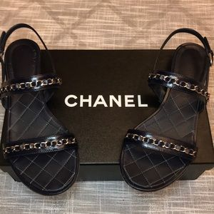 Authentic Chanel Sandal Navy with chain